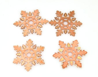 Snowflake copper blank , stamped enamel , solid copper, disc, stamping blank, personalized disc, copper blank, raw copper