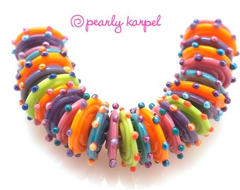 Purple, pink, green , blue, orange discs ,  lampwork beads, lampwork glass beads, lampwork beads sra, handemade lampwork, glass beads,  MTO