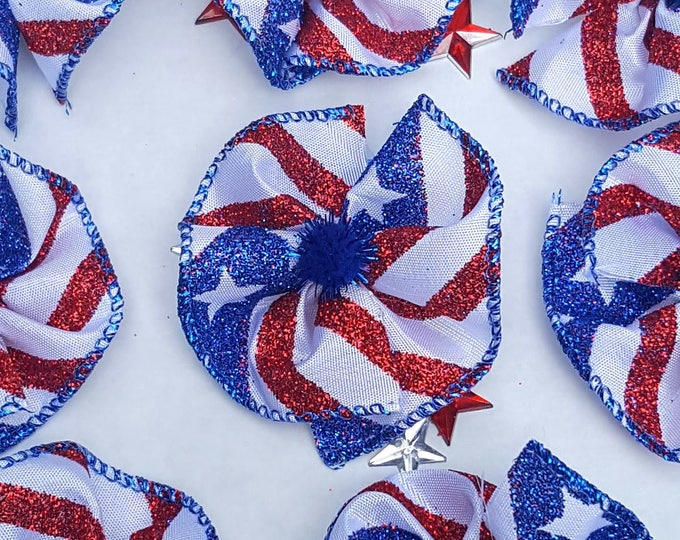 """Collar Bows, Large Dog Bows - Independence Day, 4th of July, Red White & Blue, Military, USA - 8 bows 2"""""""