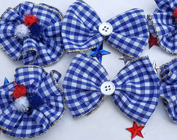 Large Dog Collar Bows 6 XL  Independence Day, Patriotic, 4th of July, USA< Military, Memorial Day, Election Day