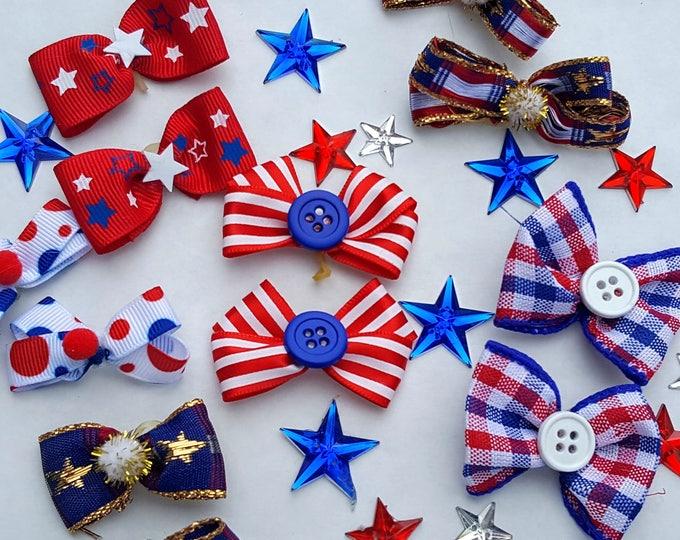 Patriotic Small puppy dog bows 12 bows 6 pair