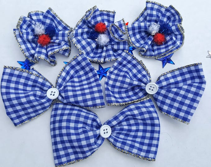 Set of 6 Large Independence Day Collar Bows - Celebrate the Red, White & Blue!
