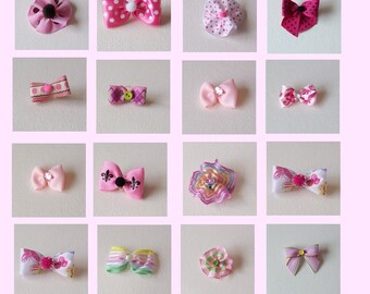 Pink dog bow assortment, pink puppy dog grooming bows 20 bows - singles