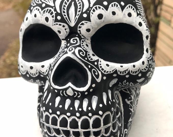 Halloween, Goth, black skull, day of the dead, altar, dark sugar skull