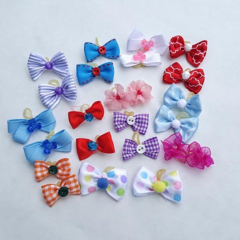 Puppy Small Dog Bows  10 pairs 20 bows image 0