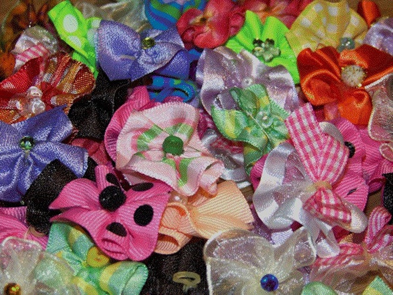 Dog Grooming Bows Assortment 50 round bows 25 pairs image 0