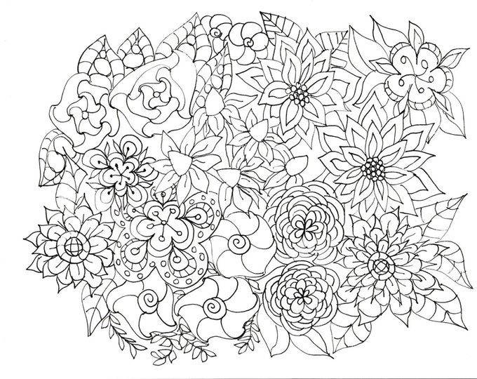 Adult Coloring Pages Flowers, Plants, Garden