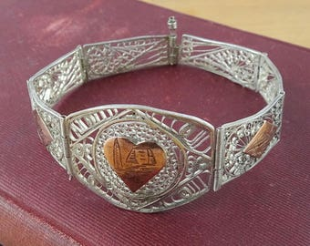 Vintage Egyptian Silver Panel Bracelet, 800 Silver & Rose Gold Filigree Bracelet, 1960's Egyptian Revival Jewelry