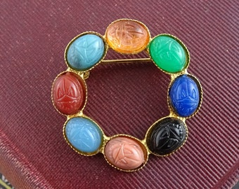 Vintage Scarab Brooch, Gold Tone Multi Colour Scarab  Pin,  Egyptian Revival Jewelry