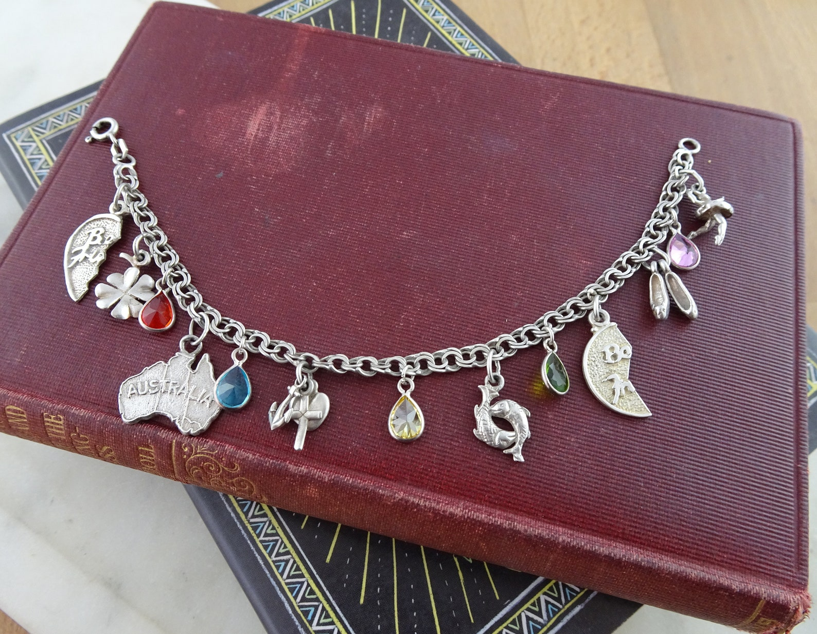 vintage sterling silver charm bracelet, novelty charm bracelet, lots of fun charms, ballet dancer, shoes, map of australia