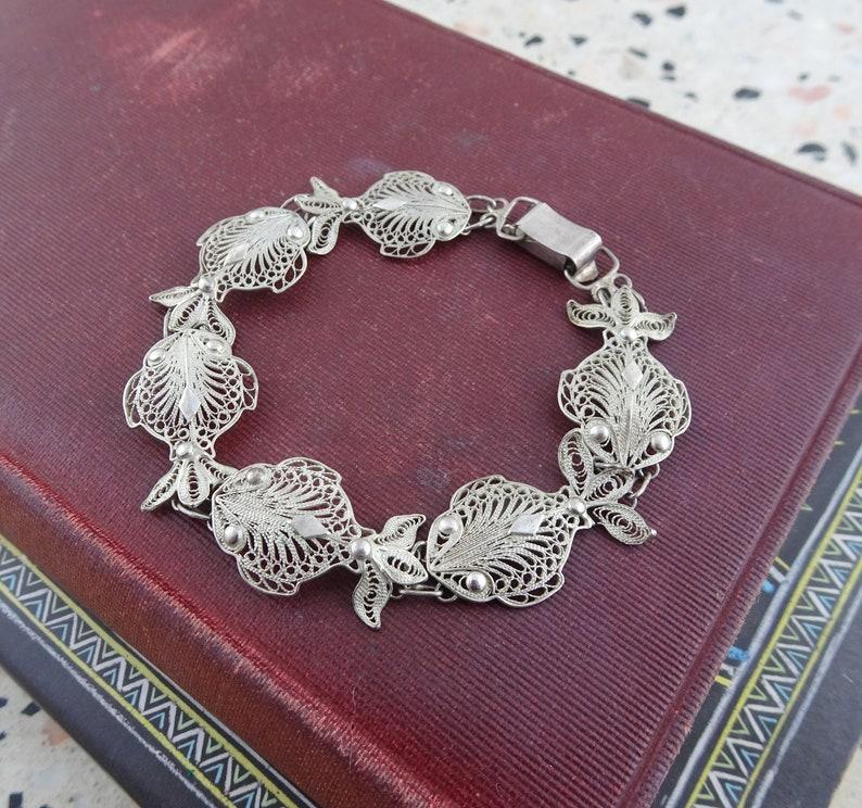 Beach Nautical Jewellery Signed HS 800 Vintage 800 Silver Filigree Fish Panel Bracelet