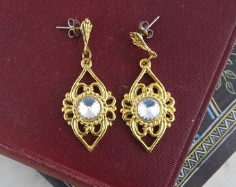 Vintage Art Deco Earrings,  Gold Tone & Crystal Earrings, Pierced Earrings, Party Earrings