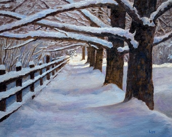 Note Card - New Snow - with trees, fence and walkway