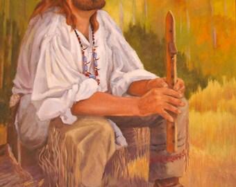 Original Oil Painting - Native American Flute