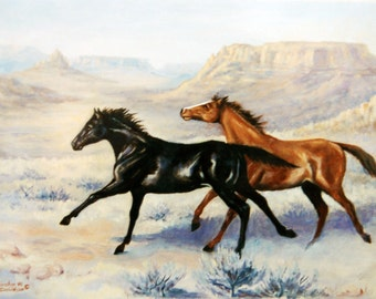 Stationery,  Card, Blank, Horses, Note Card