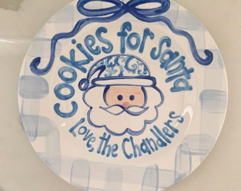 Cookies for Santa / blue and white / Chinoiserie / personalized plate / Christmas Plate