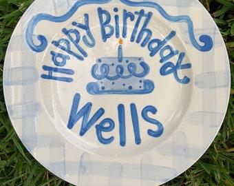 Boys preppy birthday plate // blue gingham and ribbon // first birthday // blue and white // smash cake // 1st birthday // grand millennial