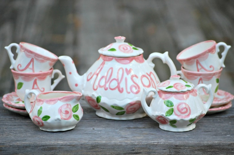 Tea set Personalized for Little girls //  child's sized image 0