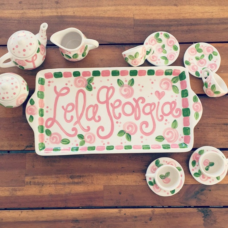 little girls personalized tea set with tray // Lets have some image 0