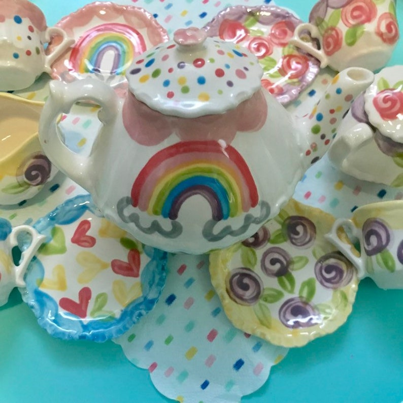 Rainbow tea party mix-n-match girls Personalized Tea Set // image 0