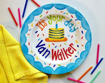 Boys Birthday Plate // Its Your Day Personalized First Birthday Plate, Custom handpainted // it's your day // birthday cake