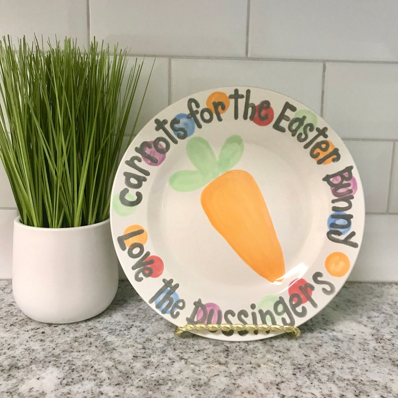 Carrots for Easter Bunny personalized plate // happy Easter // image 0
