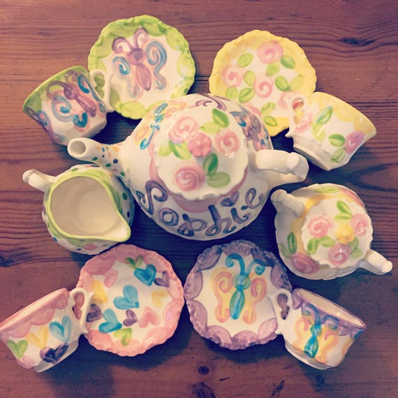 Personalized Girls Tea Set Butterfly Tea Party Butterfly Little