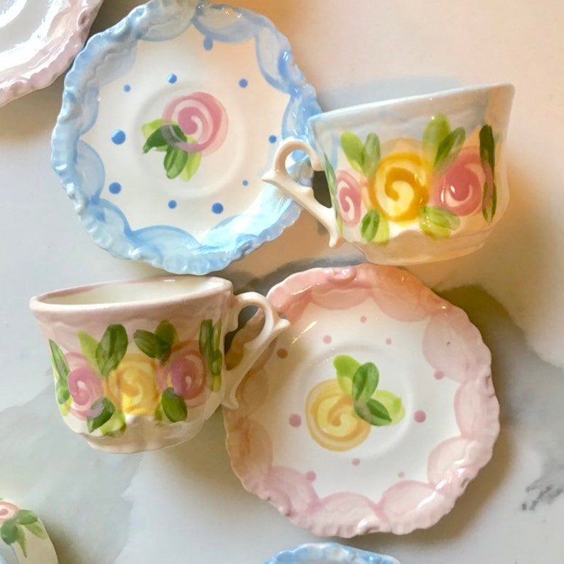 Tea Party Favors // Personalized Tea Cups Handpainted... image 0