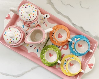 Sprinkles little girls personalized tea set with tray // pink rainbow confetti sprinkles design // first birthday tea party