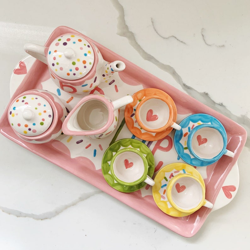 Sprinkles little girls personalized tea set with tray // pink image 0