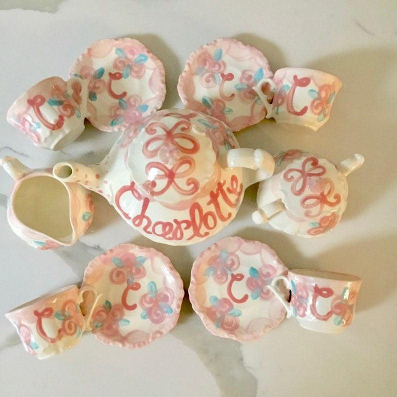 Rosebuds and Bows Little Girls Tea Party China Tea Set image 0