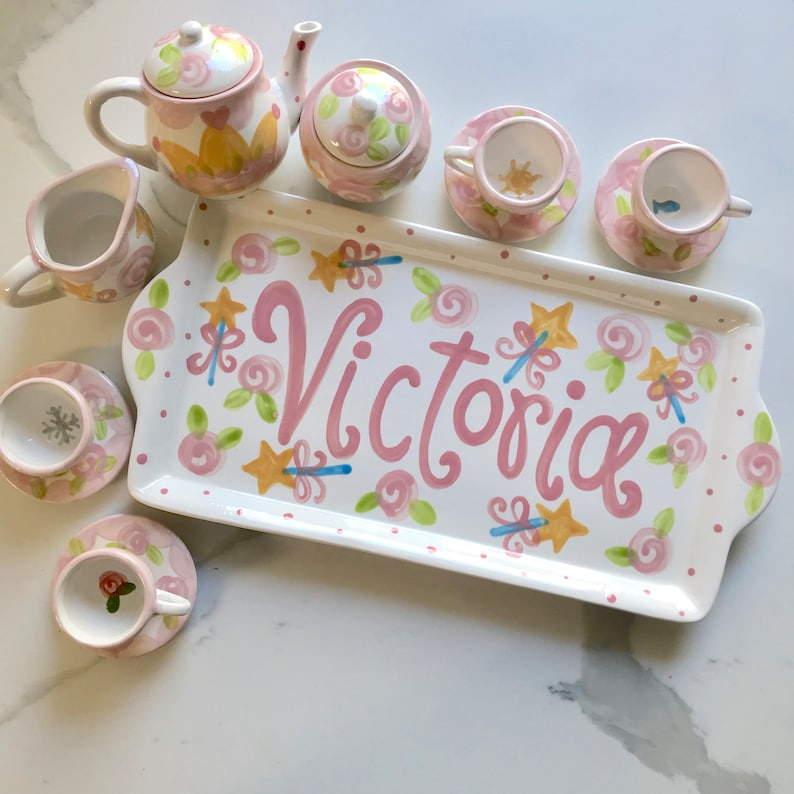 Princess tea party  personalized tea set with tray // Lets image 0