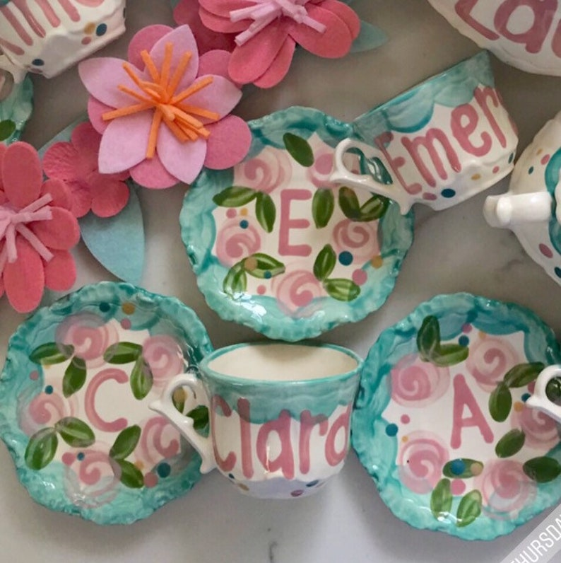 Tea Party Favors // Personalized Tea Cups Handpainted.. . . image 0
