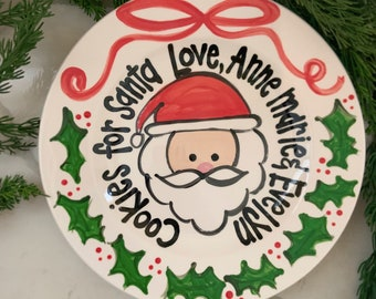 Ribbon & Holly Cookies for Santa  / personalized plate / Christmas Plate