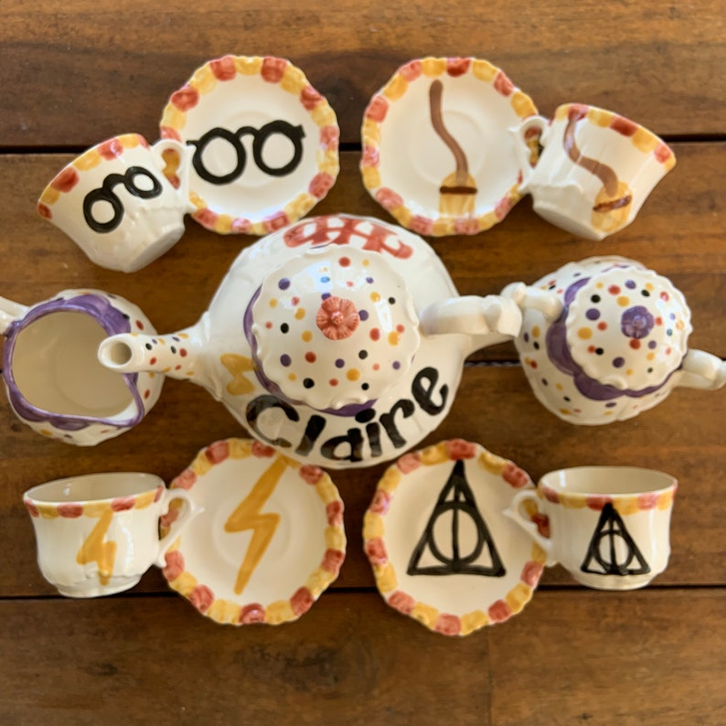 Harry Potter inspired tea set . . . Personalized Child's image 0