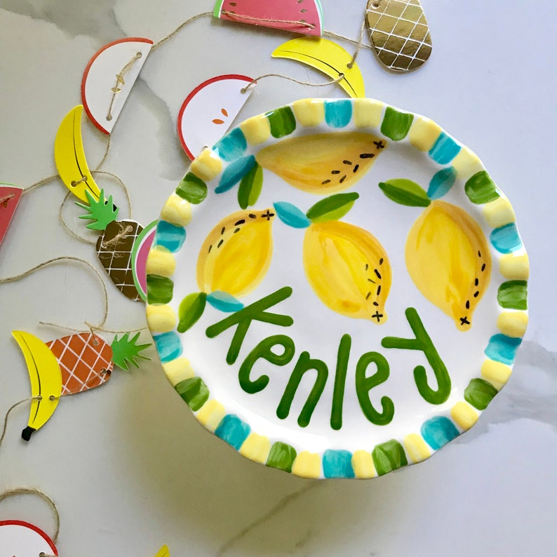 Lemon Personalized Cake Stand // Handpainted First Birthday image 0
