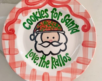 Ribbon & Gingham Cookies for Santa  / personalized plate / Christmas Plate