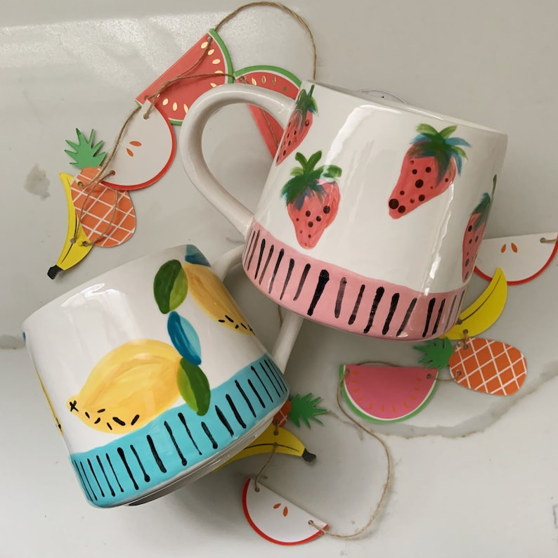 modern ceramic mug  berry or lemon  uptown tutti fruity image 0