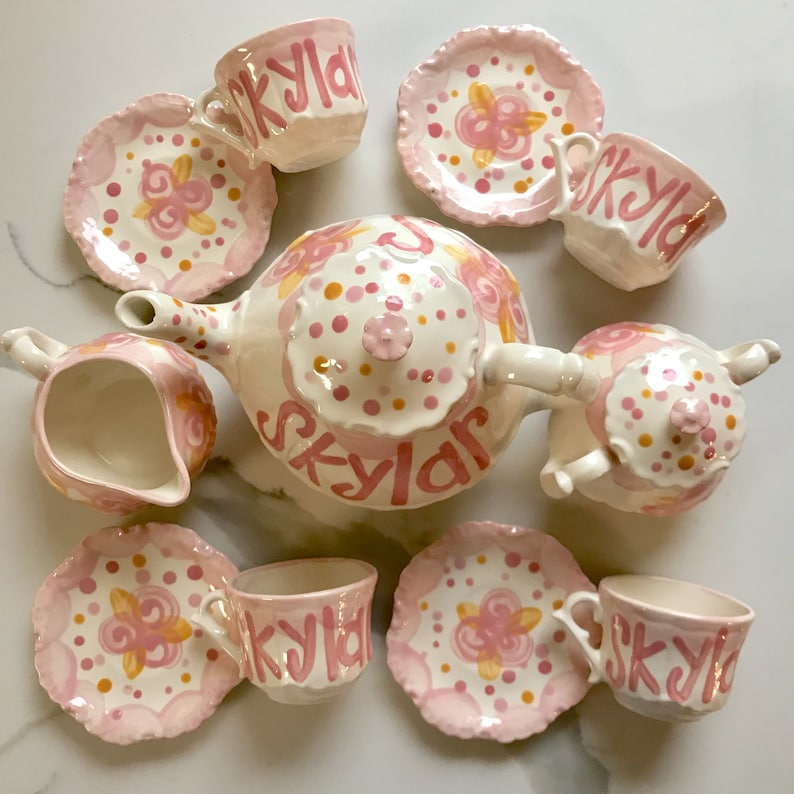 Tea set Personalized for Little girls pink and gold // image 0