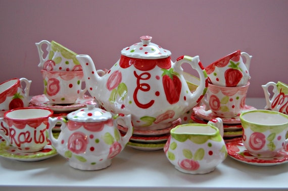 Girls Tea Set Strawberries Flowers Pink Red Tea Party Etsy
