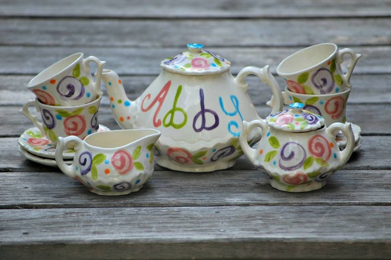 Colorful  Flowers Tea set    Personalized Little Girl's image 0