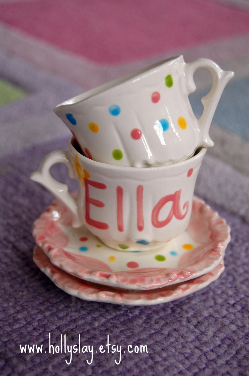 Polka Dots Personalized Child's Sized Handpainted Tea Cup image 0
