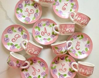 Personalized Child's Sized Handpainted Tea Cup Party Favor