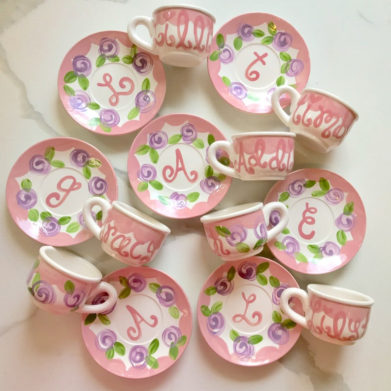 Personalized Child's Sized Handpainted Tea Cup Party Favor image 0