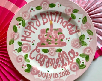 Birthday Plate // Flowers & Scallops Personalized First Birthday Plate Plate, Custom handpainted, Lilly inspired