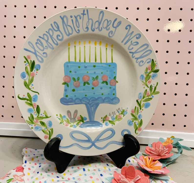Birthday Plate // Flowers ribbons and bunny Personalized image 0