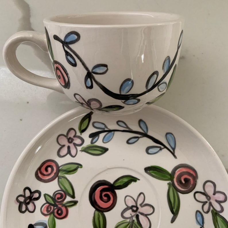 Tea Cup and saucer set... Ceramic hand painted whimsical image 0