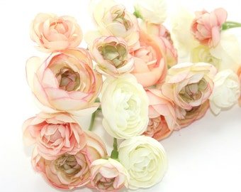 20 Mini Ranunculus in Peachy Pink Tones and White - silk flowers, artificial flowers, millinery, flower, flower crowns - ITEM 0125