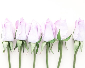 ONE Budded Rose Pick in Lavender Light Purple - Corsage or Boutonniere Supply - Artificial Silk Flowers - ITEM 01335
