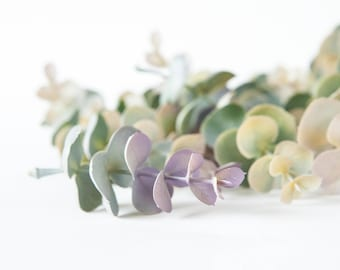 25 Artificial Eucalyptus Sprigs in Gray/Green, Purple and Light Yellow - Artificial Flowers - ITEM 01167